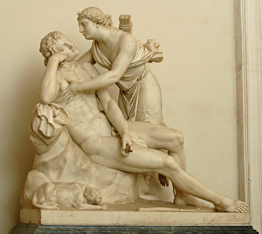 Diana and Endymion. Paolo Andrea Triscornia (1757—1833). Marble. 1797—1798. Height 140 cm, length 151 cm. The signature on the pedestal on the right: P. TRISCORNI Inv. No. Н.ск. 776. Saint Petersburg, The State Hermitage Museum