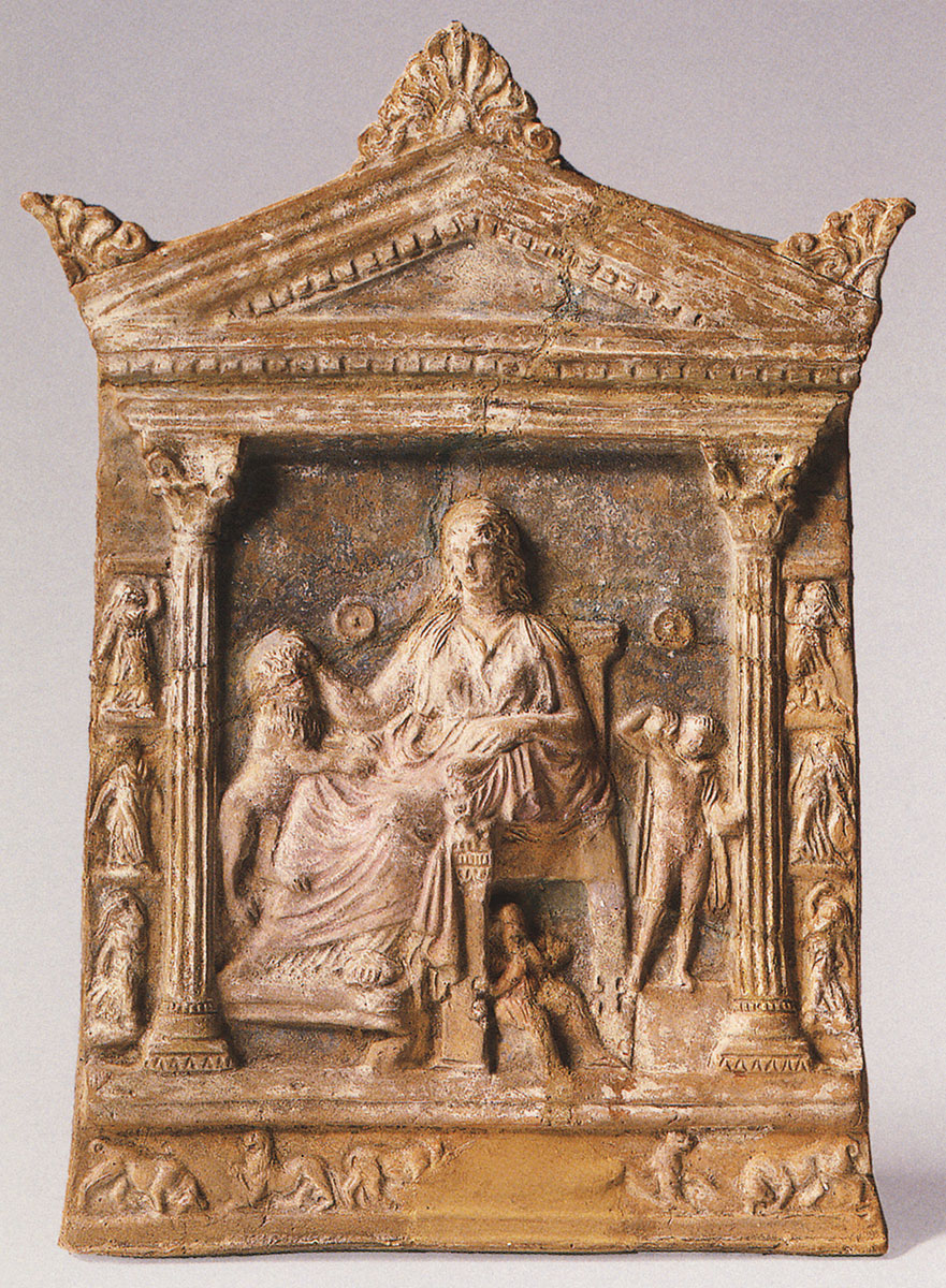 Relief with the image of Kybele. Terracotta. 2nd century BCE. Asia Minor. Height 24.5 cm, width 17.8 cm. Inv. No. Г. 406. Saint Petersburg, The State Hermitage Museum