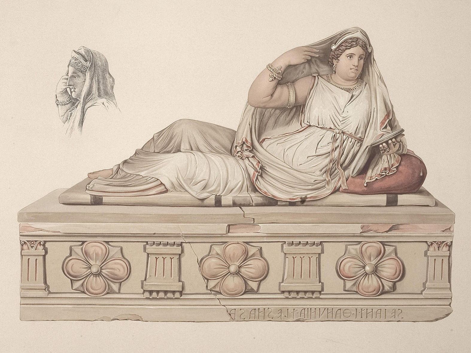 Sarcophagus of woman from the Seanti family. Clay. 2nd century BCE. Drawing after a watercolour 1886 by painter F. Eichler. London, The British Museum