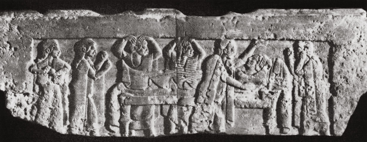 Headstone relief depicting the mourning. Stone. 5th century BCE. Kiev, Museum of Western and Oriental art