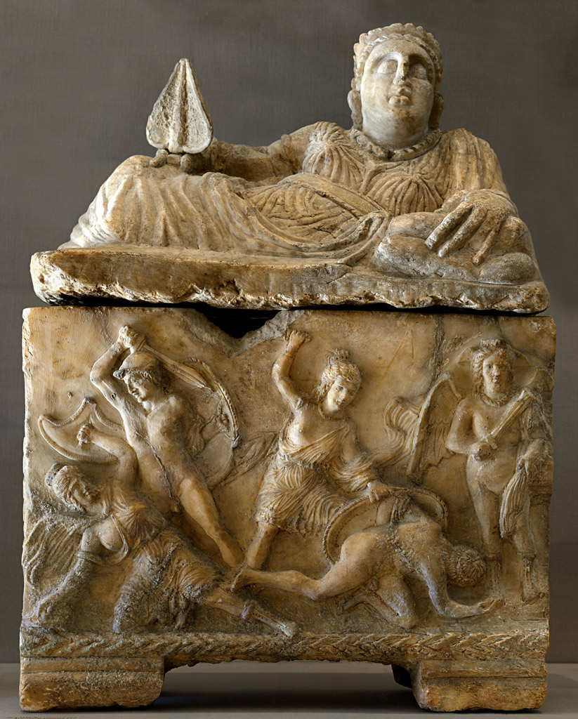 Cinerary urn of a woman with a scene of amazonomachy. Alabaster. 3rd century BCE. Inv. No. 96.9.225 a, b. New York, the Metropolitan Museum of Art