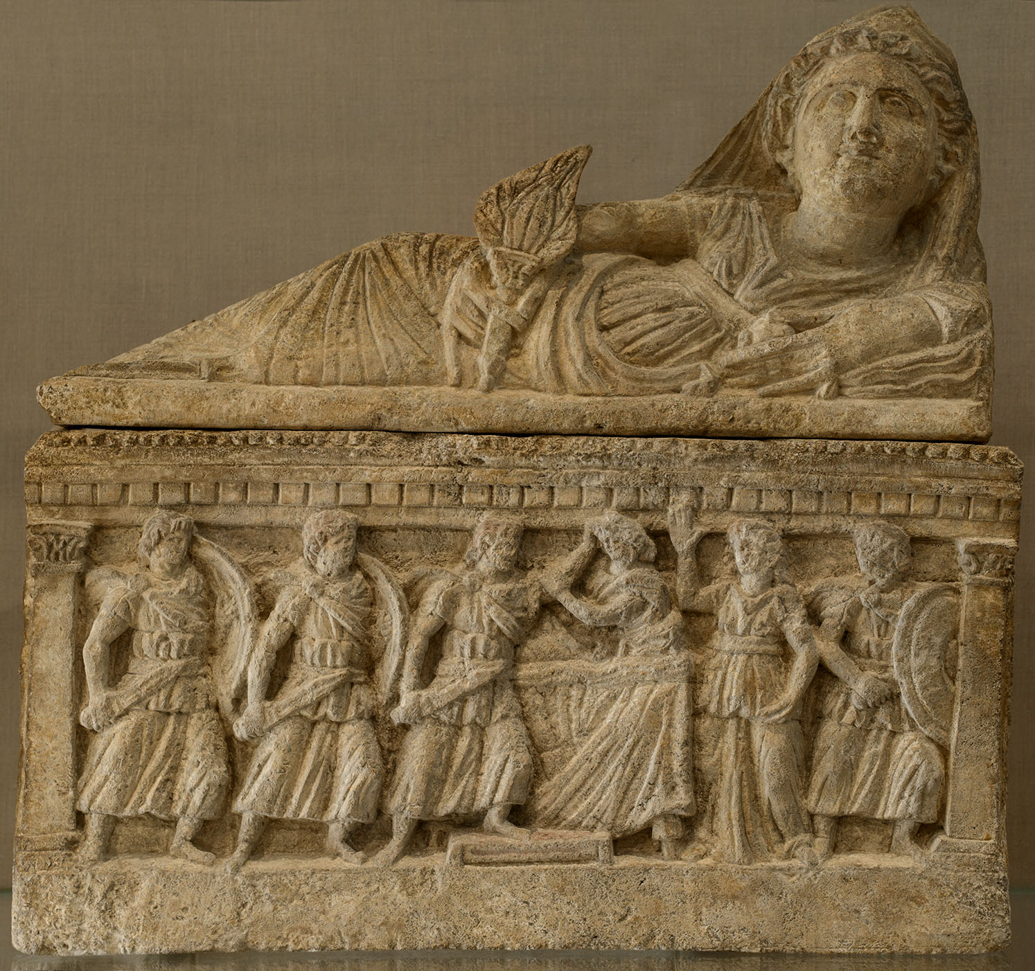 Cinerary urn with a scene of a murder of a woman. Travertine. 2nd century BCE. Inv. No. 96.9.224 a, b. New York, the Metropolitan Museum of Art