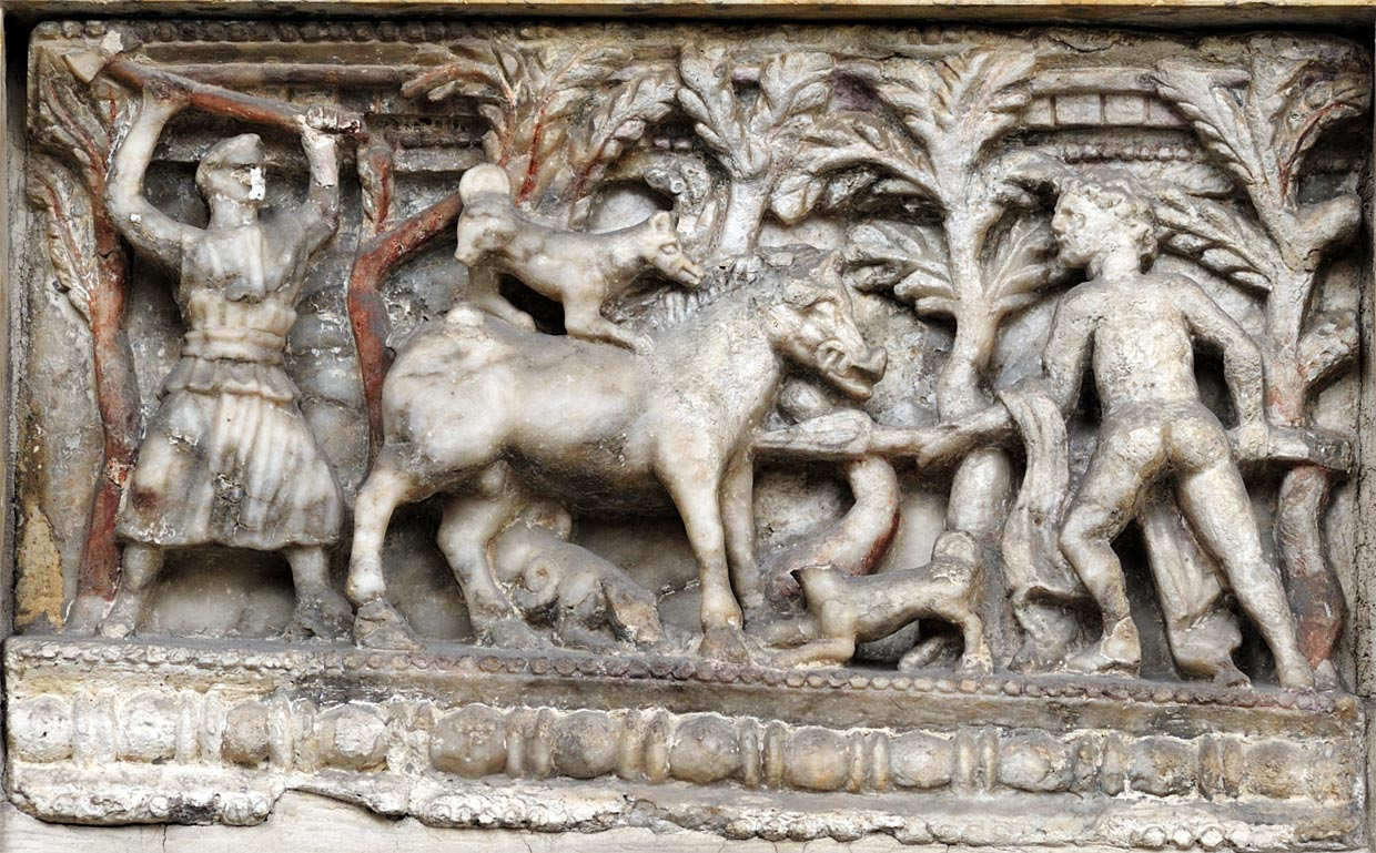 Meleager fighting a wild boar. Relief of the front of Etruscan cinerary urn. Alabaster. 2nd century BCE. Verona, Museum-Lapidarium of Maffei