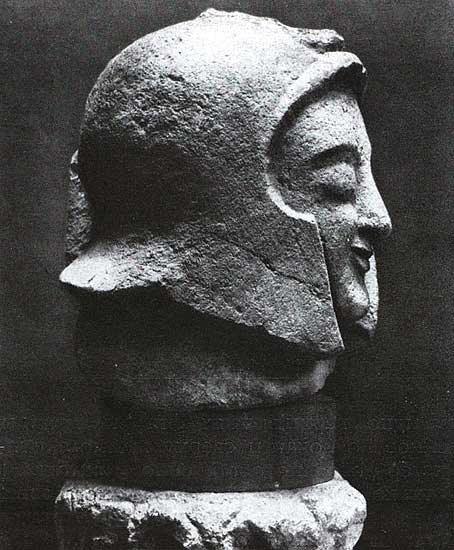 Head of warrior from Orvieto. Stone. 6th century BCE. Florence, National Archaeological Museum