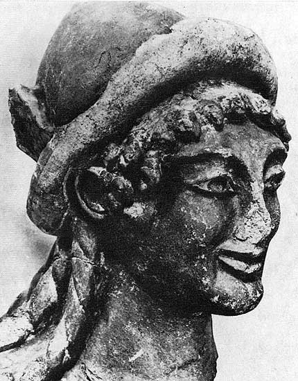 Head of Hermes. Terracotta. Late 6th century BCE. Height 41 cm. Rome, National Etruscan Museum of Villa Julia