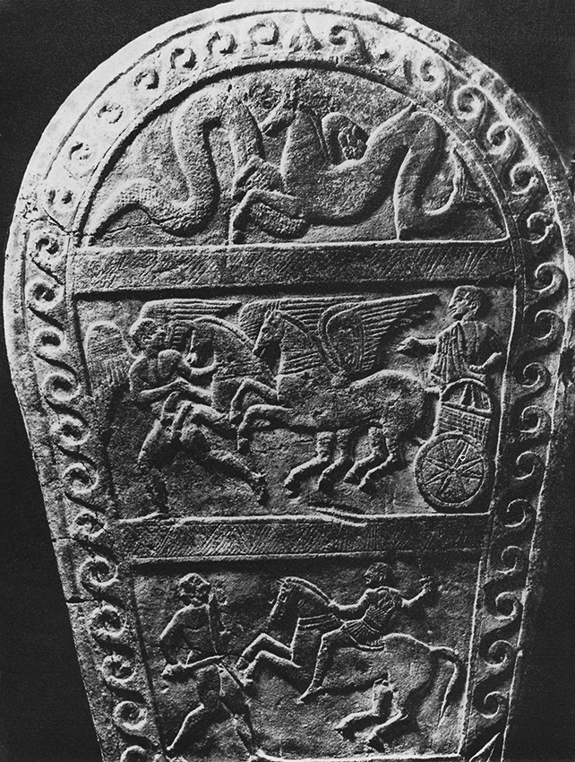 Relief stele from Bologna. Stone. 4th century BCE. Height — 2.2 m. Bologna, Civic Archaeological Museum