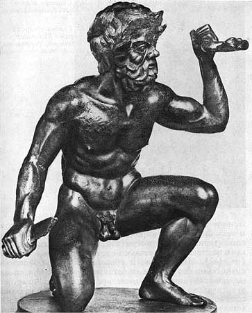 Satyr with the sword in his hand. Bronze. 4th century BCE. Height 0.44 m. Munich, Wittelsbach art collection