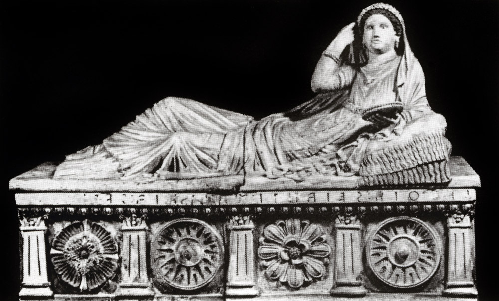 Sarcophagus of Larcia Seanti. Clay. 2nd century BCE. Length — 1.64 m. Florence, National Archaeological Museum