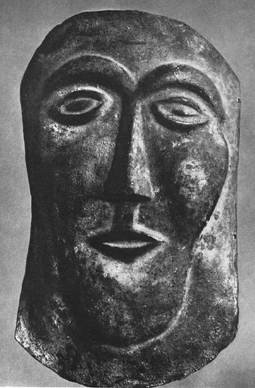 Mask from Chiusi. Bronze. First half of the 7th century BCE. Munich, Glyptotek
