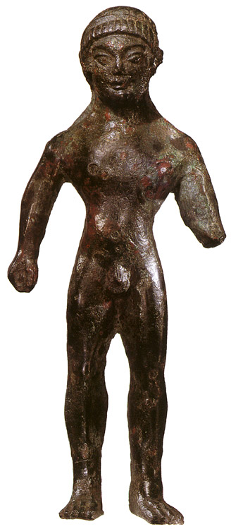 An athlete. Bronze. First quarter of the 5th century BCE. Etruscan.  Private collection, Geneva