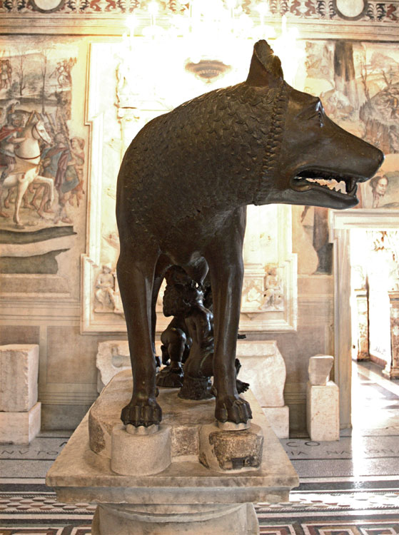 Capitoline She-wolf. Bronze. The end of the first quarter of the 5th century BCE. Rome, Capitoline Museums, Palazzo dei Conservatori, Hall of the She-Wolf