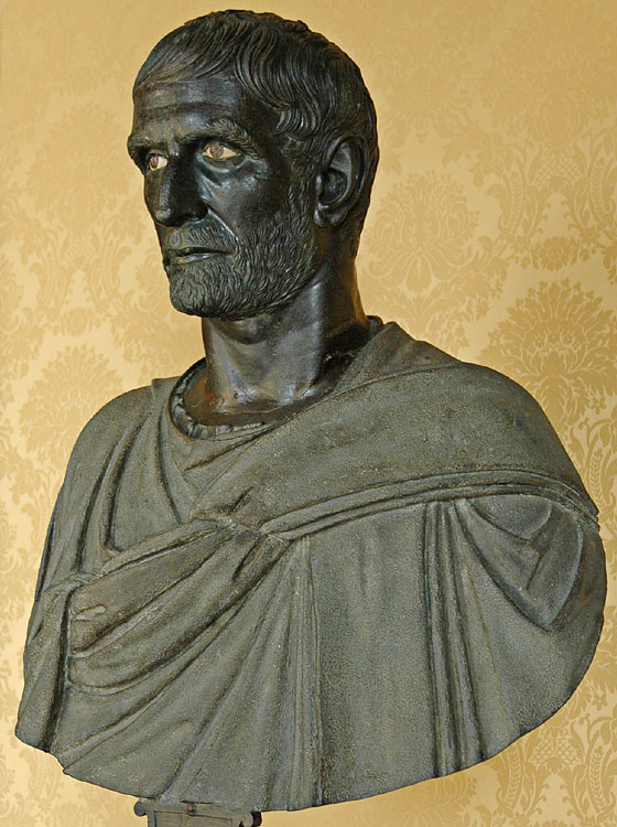 """Brutus Capitolinus."" Bronze. 4th—3rd centuries BCE. The bust is modern. Inv. No. MC1183. Rome, Capitoline Museums, Palazzo dei Conservatori, Hall of the Triumphs"