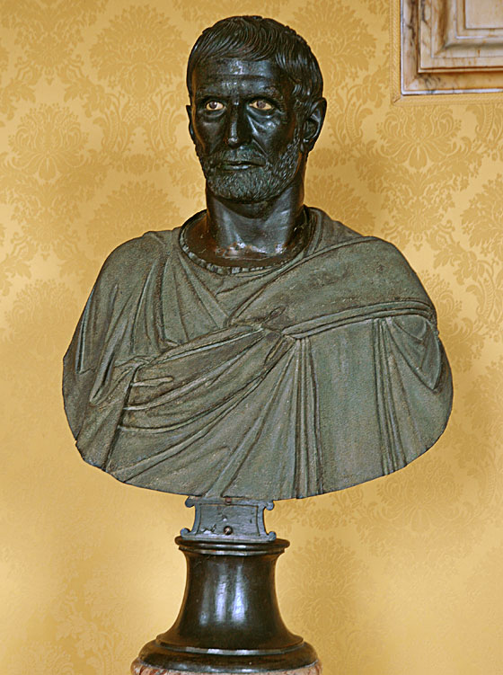 """""""Brutus Capitolinus."""" Bronze. 4th—3rd centuries BCE. The bust is modern. Inv. No. MC1183. Rome, Capitoline Museums, Palazzo dei Conservatori, Hall of the Triumphs"""