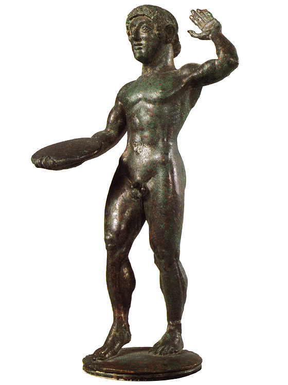 Statuette of an athlete. Bronze, grey-green patina, solid cast. 5th century BCE. Height: 11.3 cm. Inv. no. VI 425. Vienna, Museum of Art History, Collection of Classical Antiquities