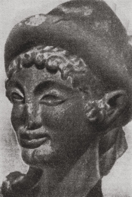 Head of Hermes. Terracotta from temple in Veii. Late 6th century BCE. Rome, National Etruscan Museum of Villa Julia