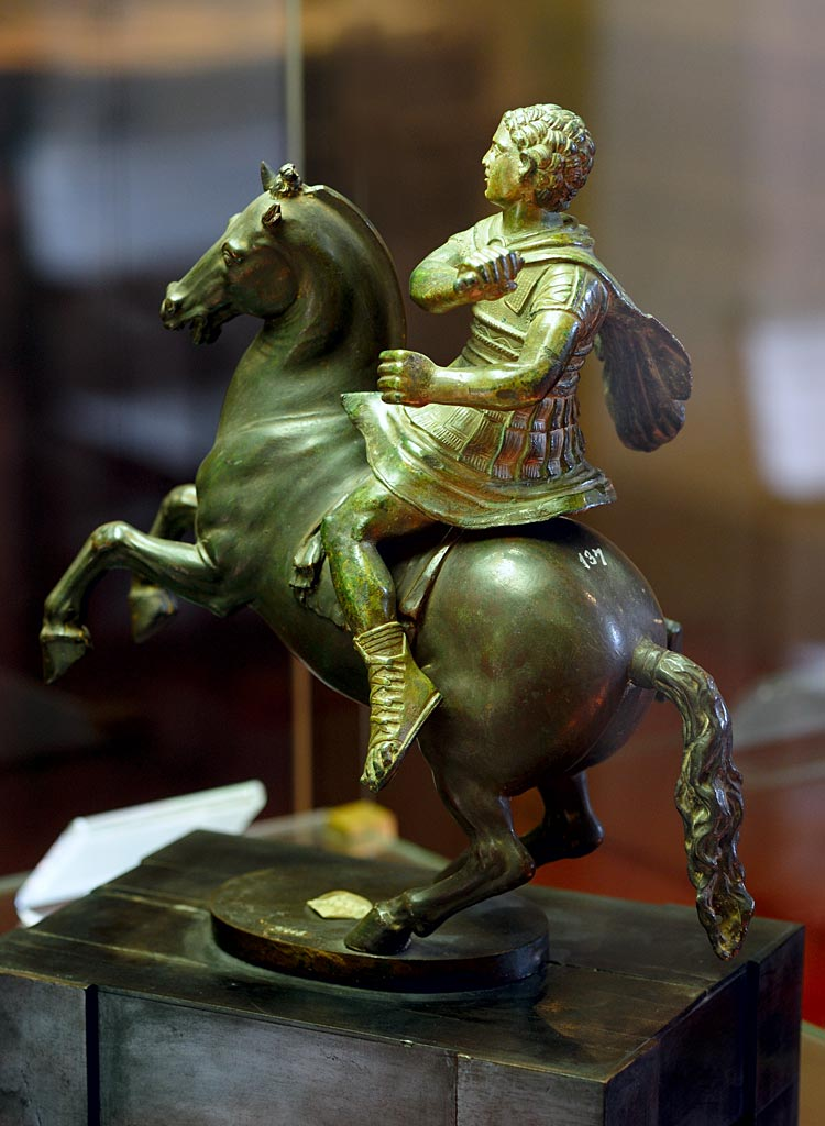 Cavalryman (type of Demetrius Poliorcetes. Bronze. Cavalryman: 3rd century BCE (Etruscan work). Horse: 1548 (by Benvenuto Cellini). Inv. No. 91446. Florence, National Archaeological Museum