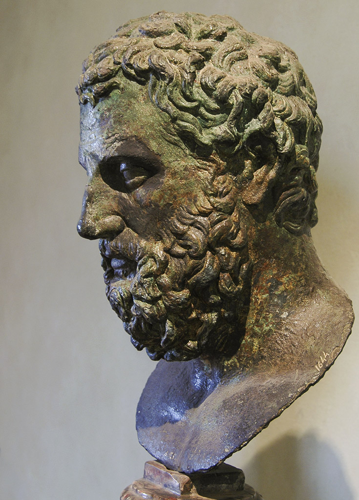 Portrait of Aeschylus. Bronze. Late 16th—early 17th centuries (?). Renaissance reproduction of a Roman copy of the Flavian age of a Greek original (?). Inv. No. 1644. Florence, National Archaeological Museum