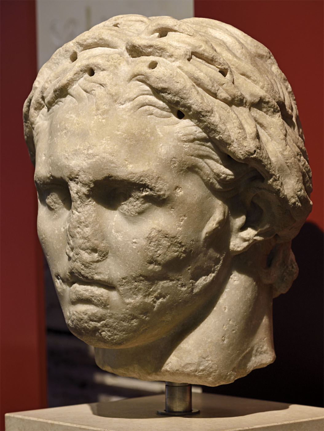 Alexander the Great. Parian marble. Copy of the 1st century BCE after a statue by Lysippos ca. 330 BCE. Inv. No. 124507. Rome, Roman National Museum, Palazzo Massimo alle Terme