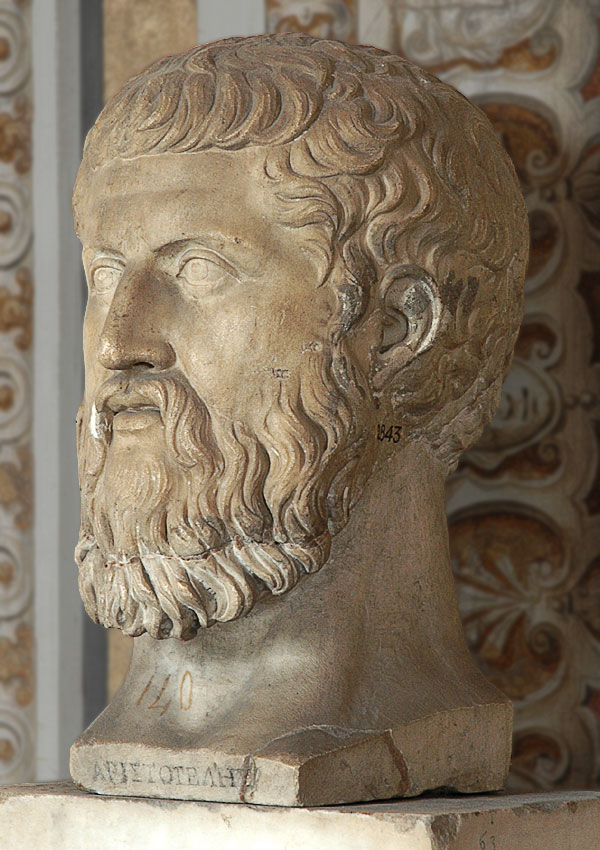 "Head of Plato. (The inscription ""ΑΡΙΣΤΟΤΕΛΗΣ"" is a mistake). Marble. Inv. No. 2843. Rome, Vatican Museums, Pius-Clementine Museum, Gallery of Maps, 63"