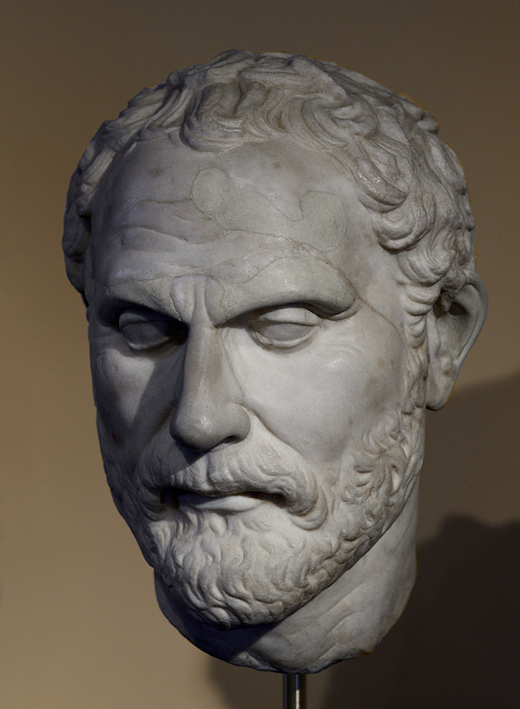 Demosthenes. Pentelic marble. Roman copy of the Greek original by Polyeuctos of the first half of the 3rd cent. BCE. Inv. No. MB 140. Rome, Museum of Barracco