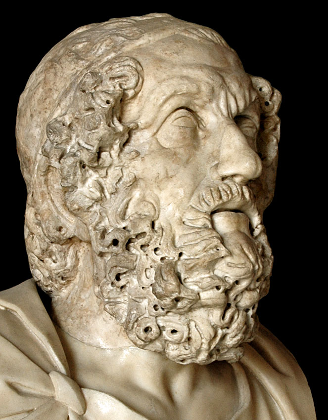 Homer. Marble. After the Hellenistic original of the 2nd century BCE. Inv. No. MC557. Rome, Capitoline Museums, Palazzo Nuovo, Hall of the Philosophers