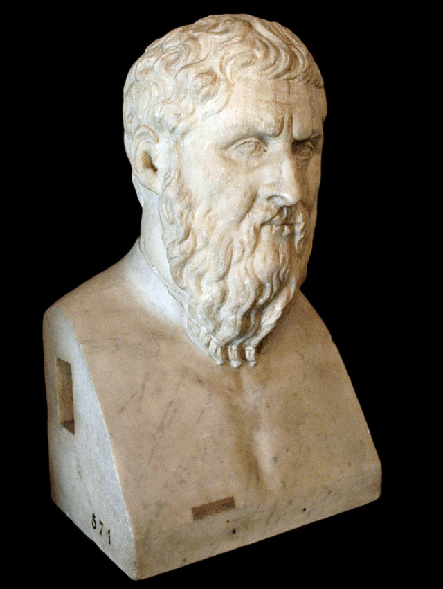 Herm of Plato. Marble. From the original of the 4th century BCE. Inv. No. MC571. Rome, Capitoline Museums, Palazzo Nuovo, Hall of the Philosophers