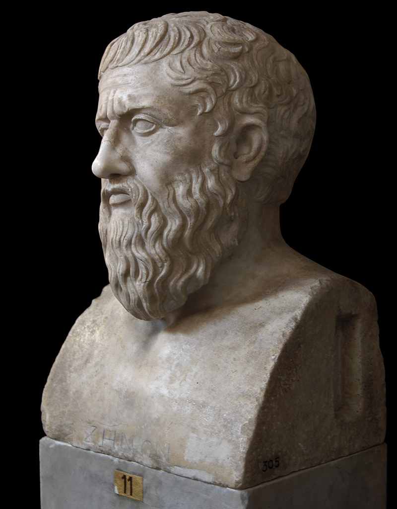 "Herm of Plato. Roman copy from a Greek statue of the last quarter of the 4th century BCE. The inscription ""ΖΗΝΩΝ"" is a mistaken and modern addition. Inv. No. 305. Rome, Vatican Museums, Pius-Clementine Museum, Room of the Muses, 11"