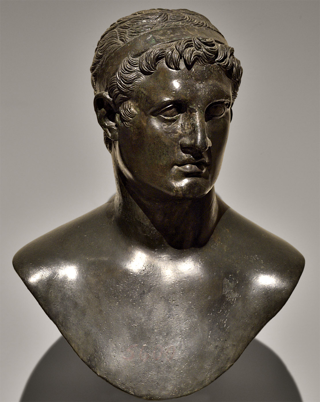 "Ptolemy II Philadelphus (previously known as ""Ptolemy IX Lathyrus""). Bronze. 49 BCE — 25 CE.  Inv. No. 5600. Naples, National Archaeological Museum"