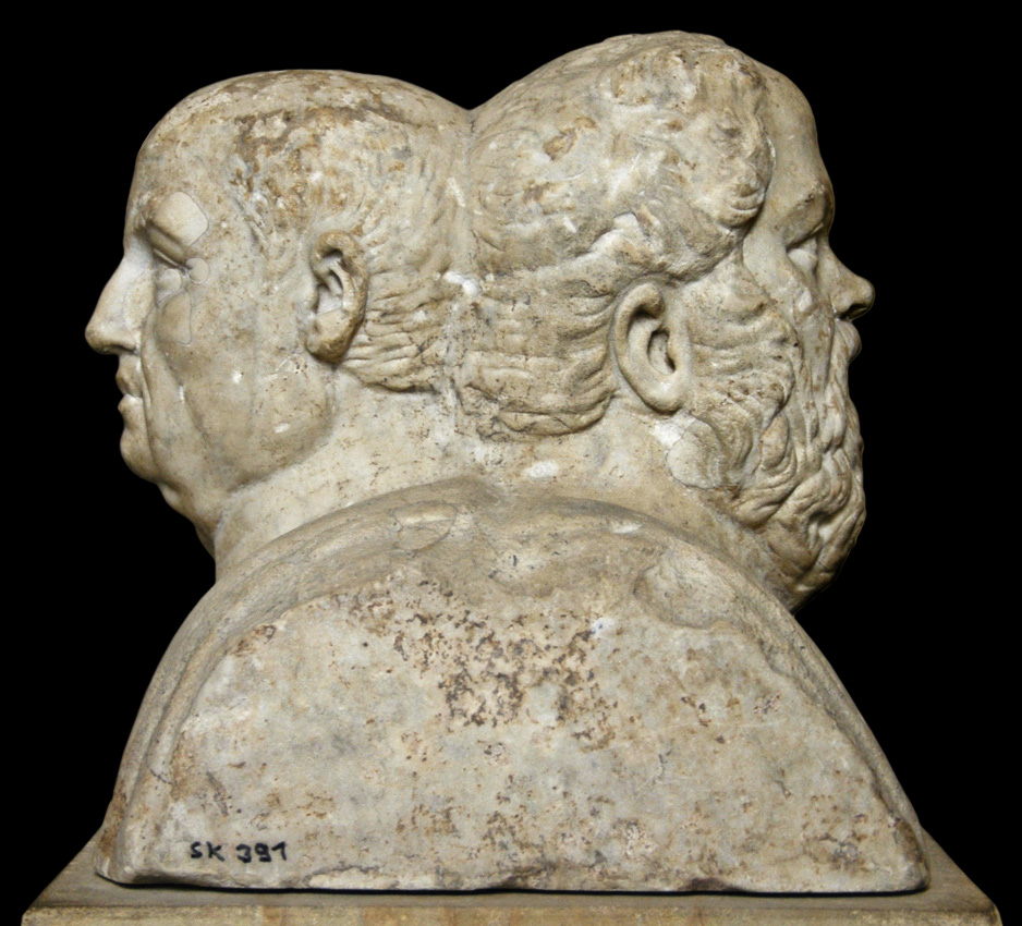 Double herm with portraits of Socrates (470—399 BCE) and roman philosopher Seneca (4 BCE — 65 CE). Marble. First half of the 3rd century. Portraits are coupled in double herm by later roman copyist. Inv. No. Sk 391 (R 106). Berlin, State Museums, Pergamon Museum