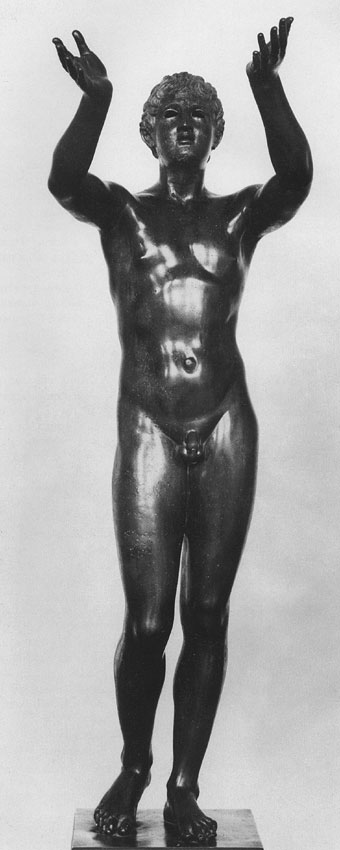 "Statue, so-called ""The praying boy."" Bronze. Ca. 300 BCE. Height 128 cm. Berlin, State Museums"
