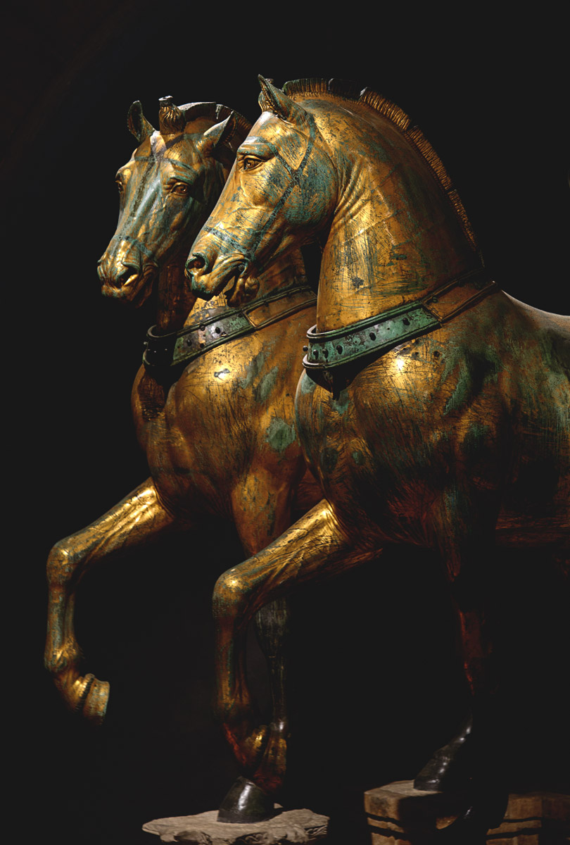 """Horses of Saint Mark."" Bronze. Attributed to the Greek sculptor Lysippos, 4th century BCE. Venice, Basilica of St. Mark"