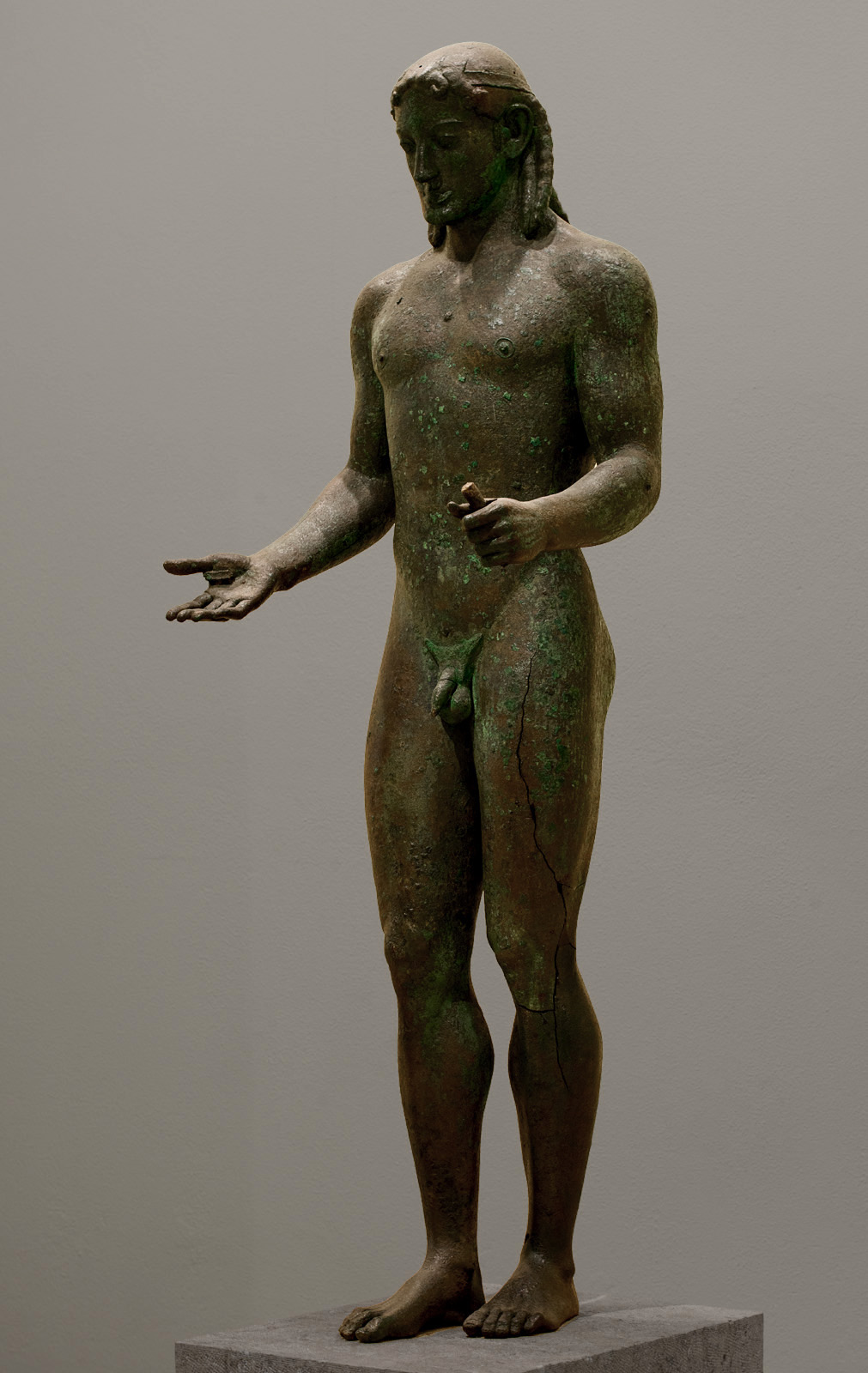 "Kouros (so-called ""The Peiraeus Apollo""). Bronze. Early 5th cent. BCE, or 530—520 BCE. Height 1.91 m. Inv. No. 4645. Athens, Archaeological Museum of Piraeus"