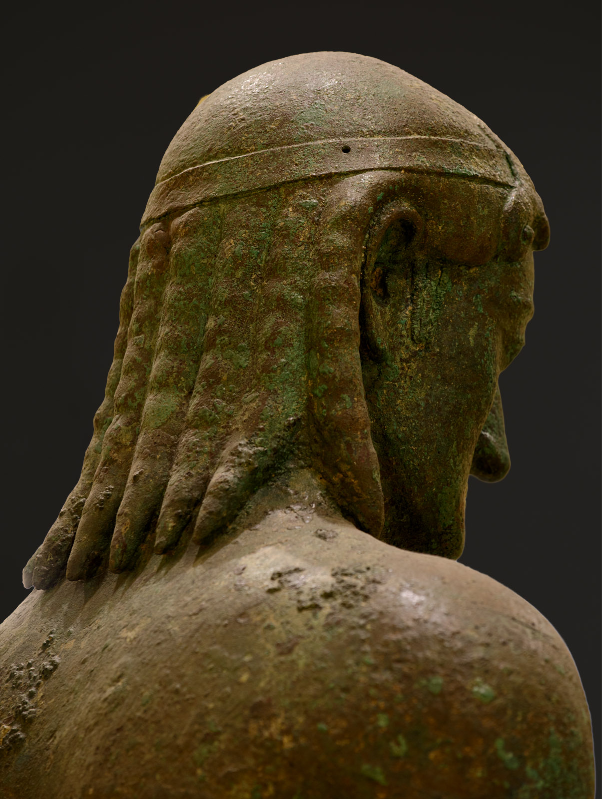 "Kouros (so-called ""The Peiraeus Apollo""). Bronze. Early 5th cent. BCE, or 530—520 BCE. Inv. No. 4645. Athens, Archaeological Museum of Piraeus"