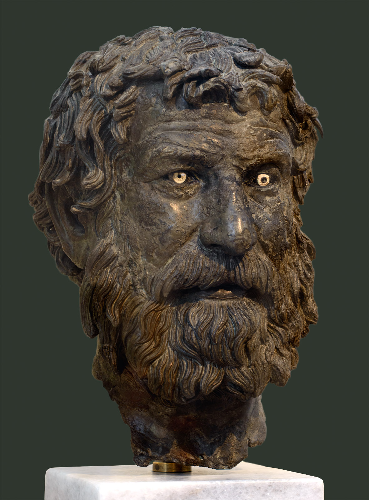 Philosopher (portrait head from a statue). Bronze. Ca. 240 BCE. Inv. No. X. 13400. Athens, National Archaeological Museum