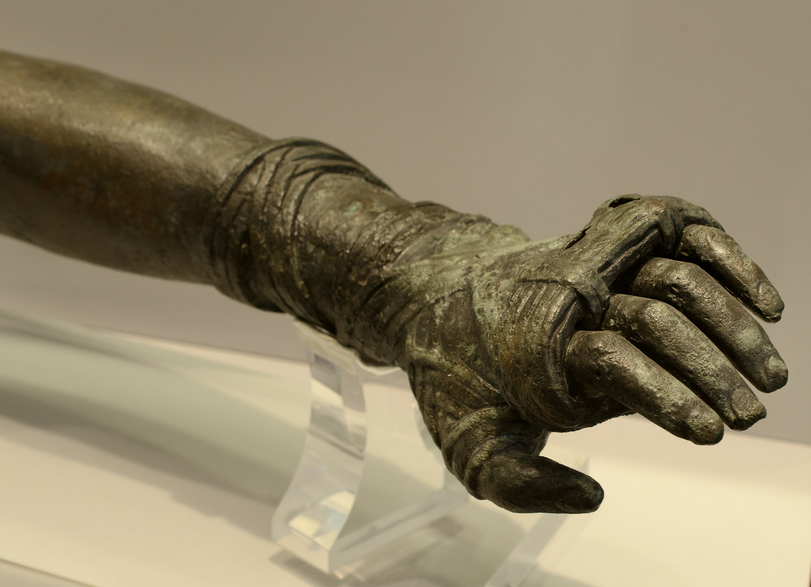 Left arm of a young boxer. Bronze. 2nd — early 1st cent. BCE. Inv. No. 15111. Athens, National Archaeological Museum
