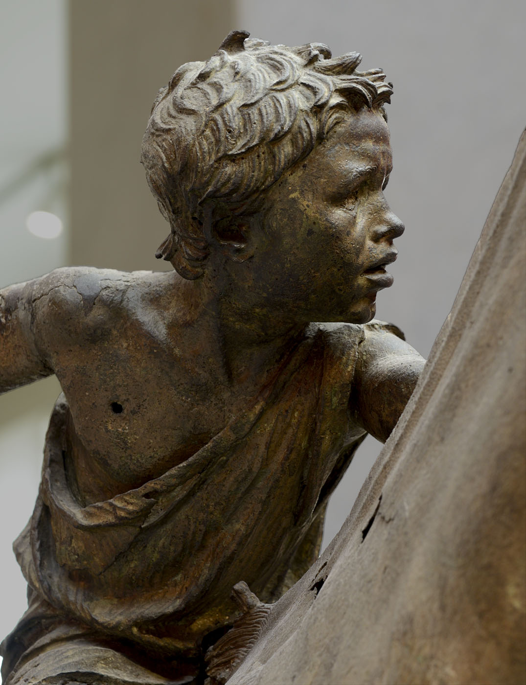 """A horse and a young jokey (""""Artemision Jokey""""). Close-up. Bronze. Ca. 140 CE. Inv. No. X. 15177. Athens, National Archaeological Museum"""