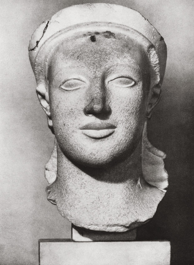 Female head. Fragment from east pediment of the temple of Athene at Aegina. Marble. Early 5th century BCE. Munich, Glyptotek