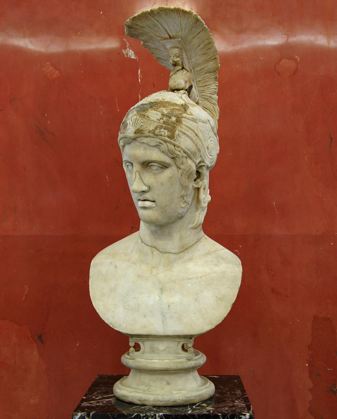 Head of Ares. Marble. After the Greek original by Alkamenes ca. 420s BCE. Inv. No. A 105. Saint Petersburg, The State Hermitage Museum