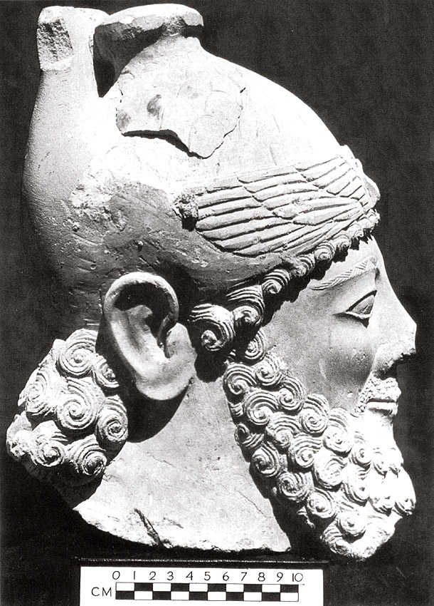 Head representing a priest king of Paphos. 600—489 BCE. Liverpool, Merseyside Museums