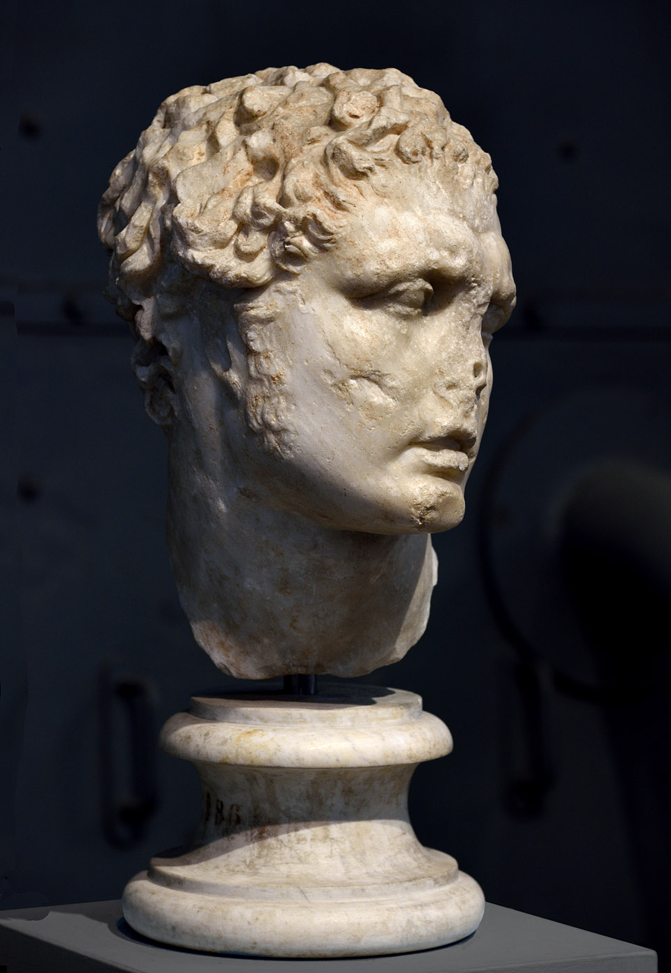 Male head. Pentelic marble. Inspirated by a late Hellenistic statue. Inv. No. MC 1860. Rome, Capitoline Museums, Museum Montemartini (Centrale Montemartini), II. 39