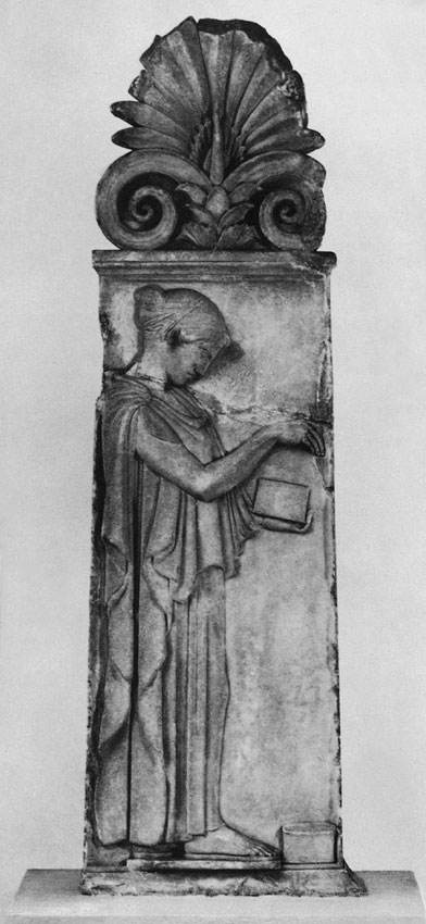 "Funeral stele of a girl, the so-called ""stele of Giustiniani."" Parian marble. Ca. 460 BCE. Height 142 cm. Berlin, State Museums"