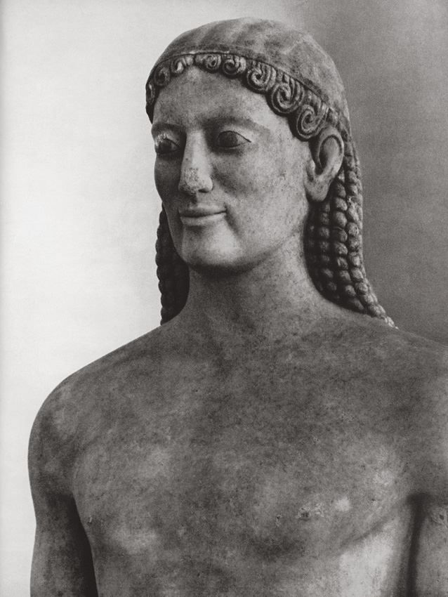Funerary statue of Kroisos. Detail. Marble. Late 6th century BCE. Athens, National Archaeological Museum