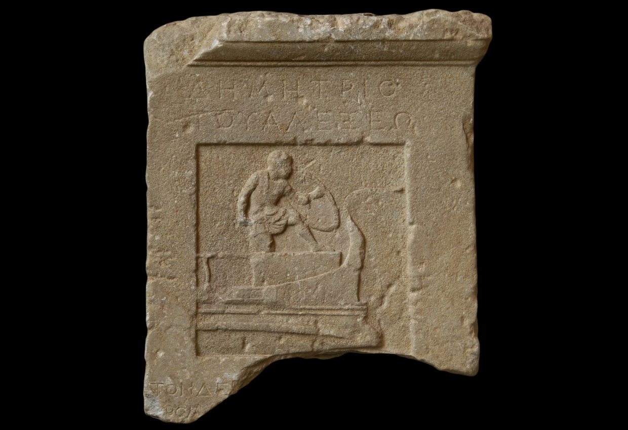 Gravestone of Demetrius, represented as a naval soldier killed in fight on the ship. Marble. Ca. 370 BCE. Inv. No. 522. Munich, Glyptotek