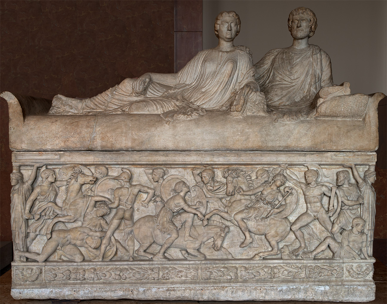 Sarcophagus of a married couple with scenes of amazonomachy. Marble. Ca. 180 CE. Inv. No. Ma 2119. Paris, Louvre Museum