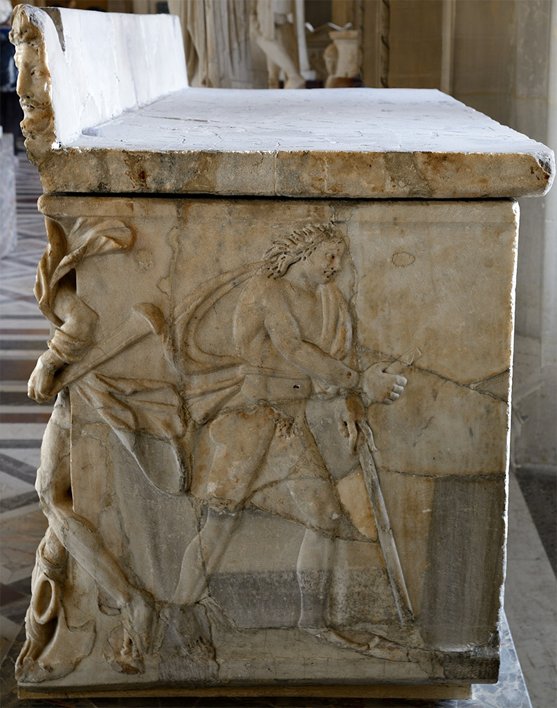 "Sarcophagus with relief ""Achilles at the Court of King Lycomedes"". Right side. Marble. Early 3rd cent. CE. Inv. No. Ma 3570. Paris, Louvre Museum"