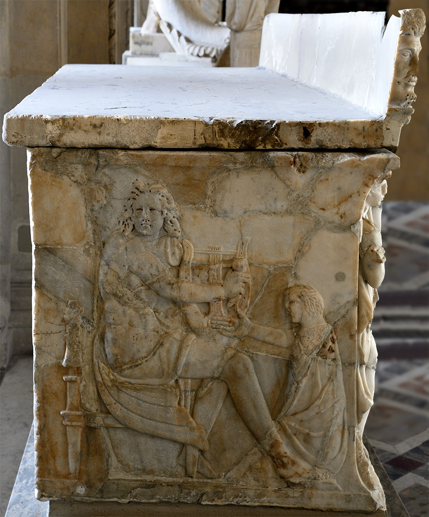 "Sarcophagus with relief ""Achilles at the Court of King Lycomedes"". Left side. Marble. Early 3rd cent. CE. Inv. No. Ma 3570. Paris, Louvre Museum"