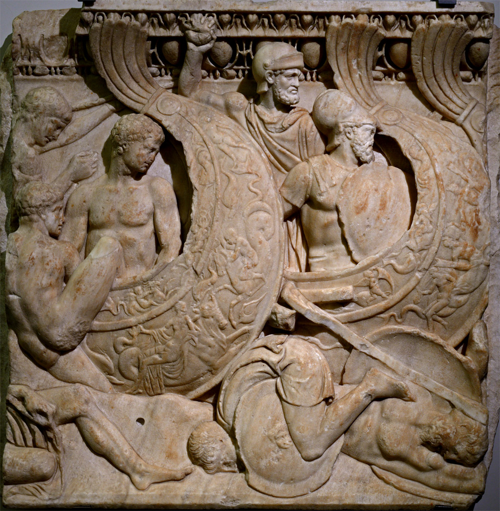 Fragment of an Attic sarcophagus relief with a scene of a sea battle. Marble. Beginning of the 3rd cent. CE. Inv. No. 154. Venice, National Archaeological Museum