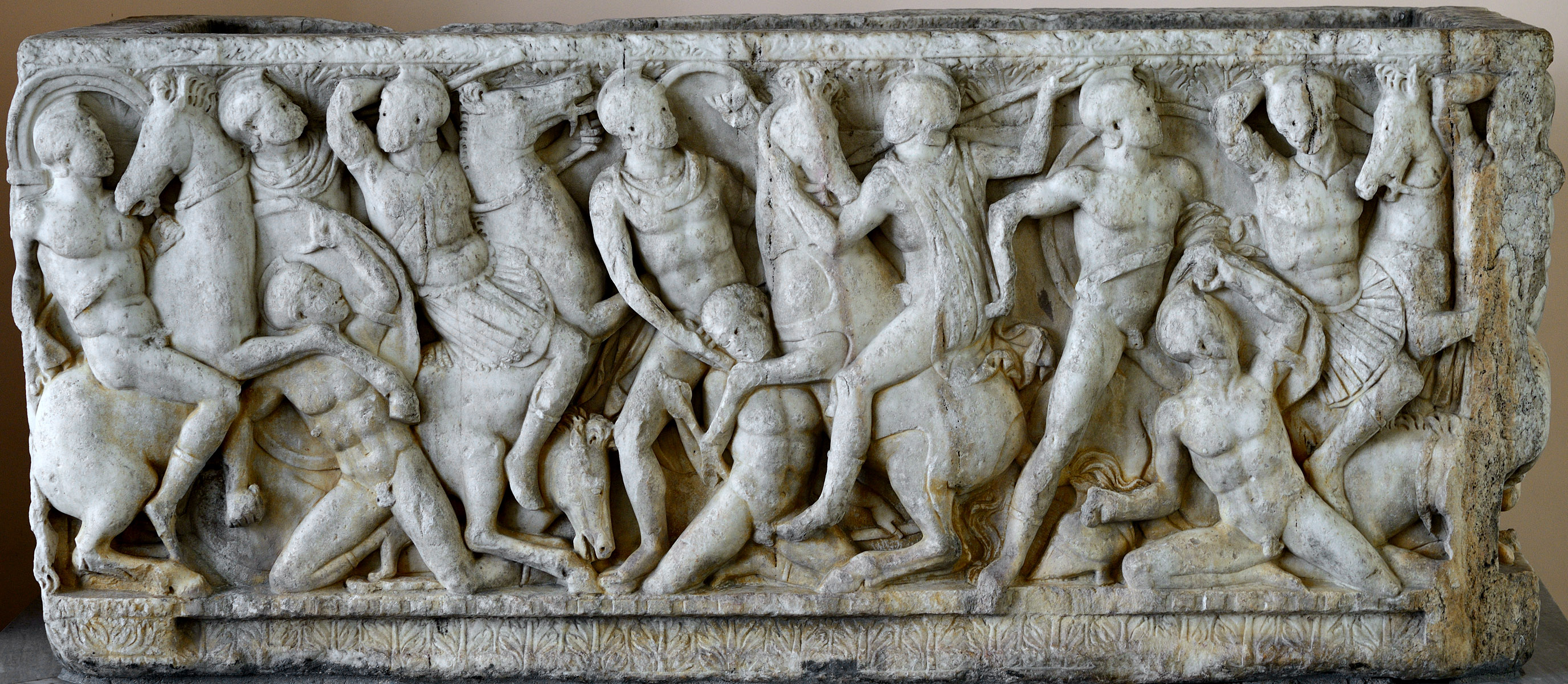 Sarcophagus with a battle scene (front panel). Attic work. Early 3rd cent. CE. Marble. Ca 240 CE. Inv. No. A.521. Saint Petersburg, The State Hermitage Museum