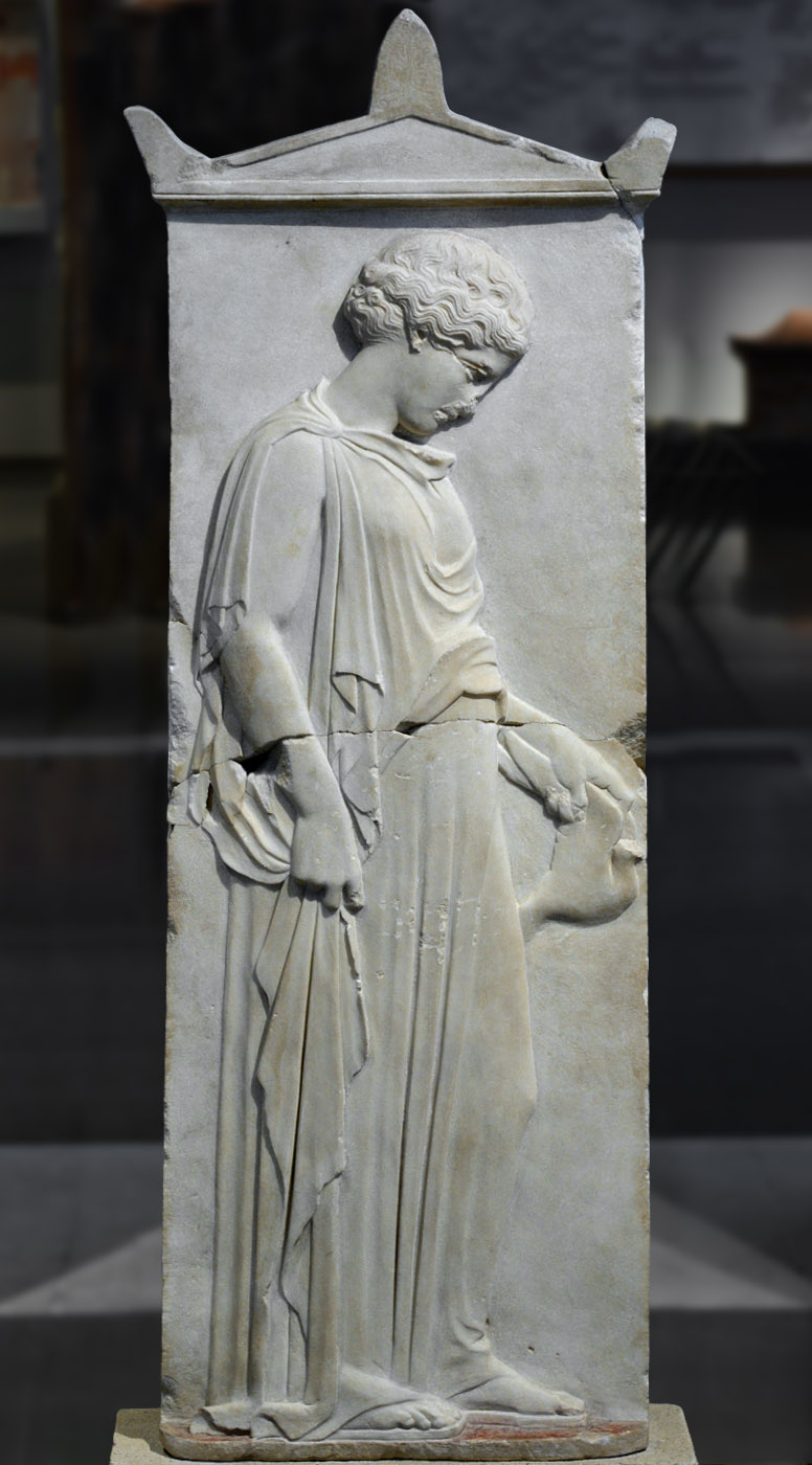 Gravestone depicting a maiden holding a dove. Marble. Ca. 440 BCE. Thessaloniki, Archaeological Museum