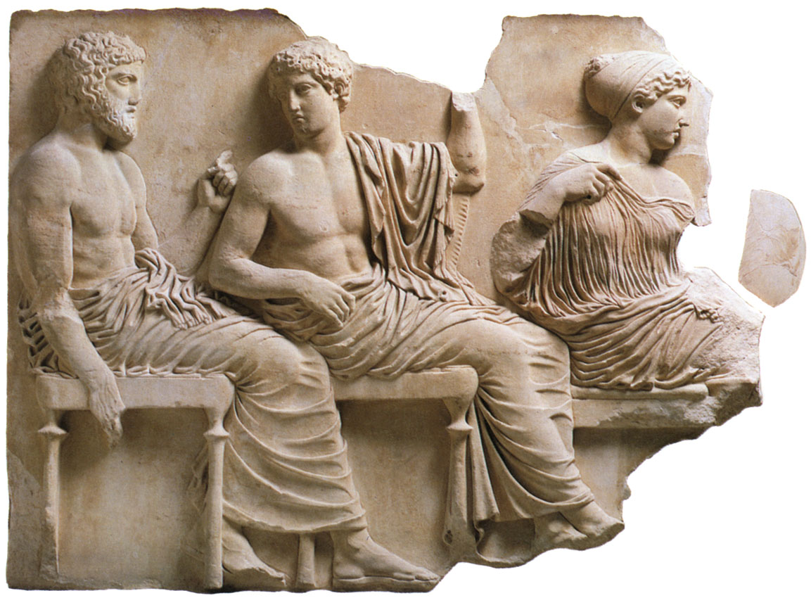 Poseidon, Apollo and Artemis in the meeting of gods. Bas-relief from the east frieze of Parthenon. Marble. 440 BCE. Athens, New Acropolis Museum